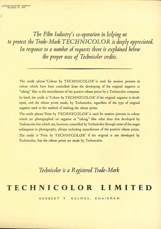 Technicolor ad, KW November 1954